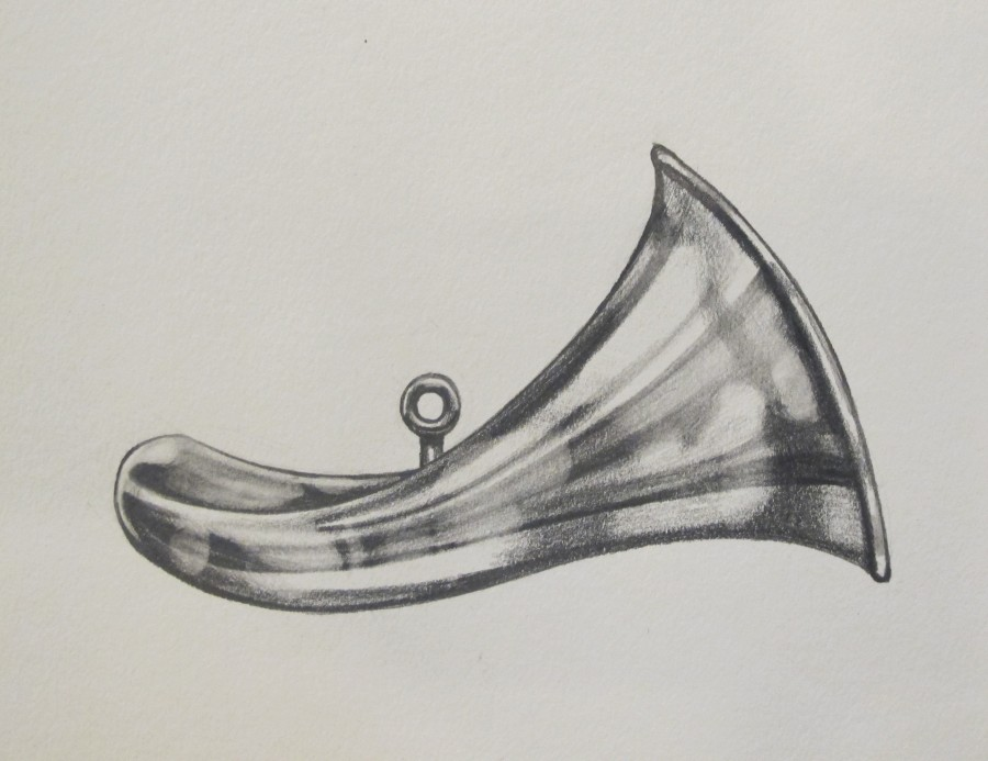 "Sketch in progress of Nashua's horn necklace, for the cover of ""Nashua's Choice."""