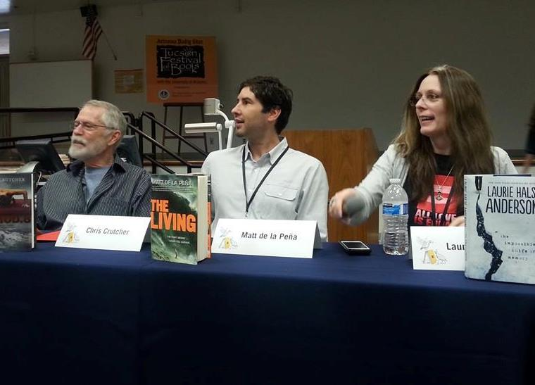 Panel with Laurie Halse Anderson Matt de la Pena Chris Crutcher at Tucson Festival of Books 2014