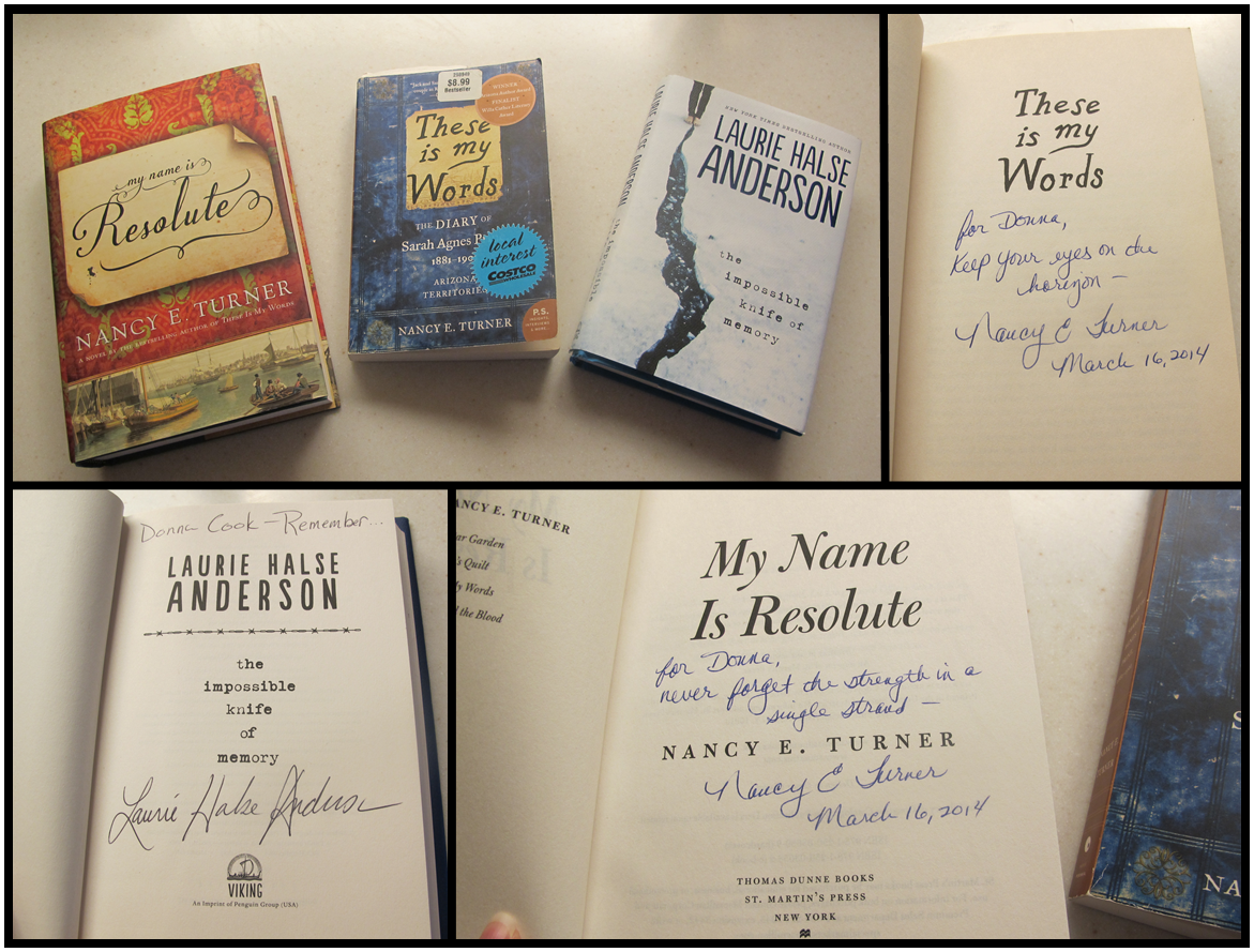 Donna Cook signed books Nancy Turner Laurie Halse Anderson