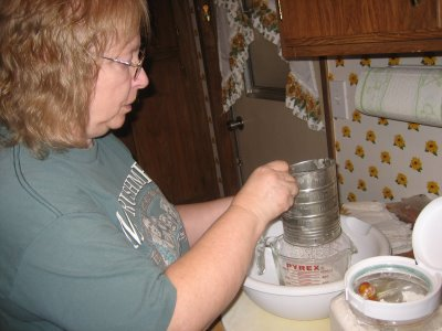 My mother teaching me how to make her famous apple pie.