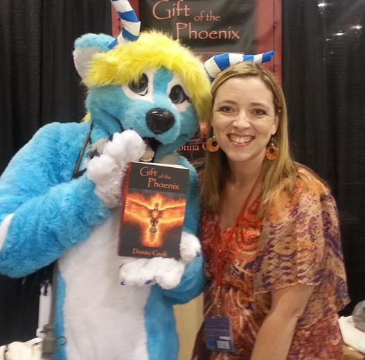 Donna Cook and fan at Phoenix Comicon 2014