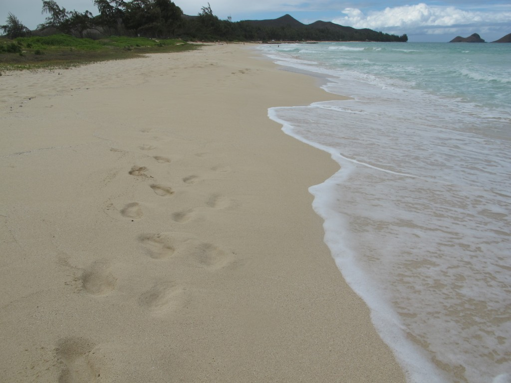 Footprints in the sand beach Oahu Hawaii