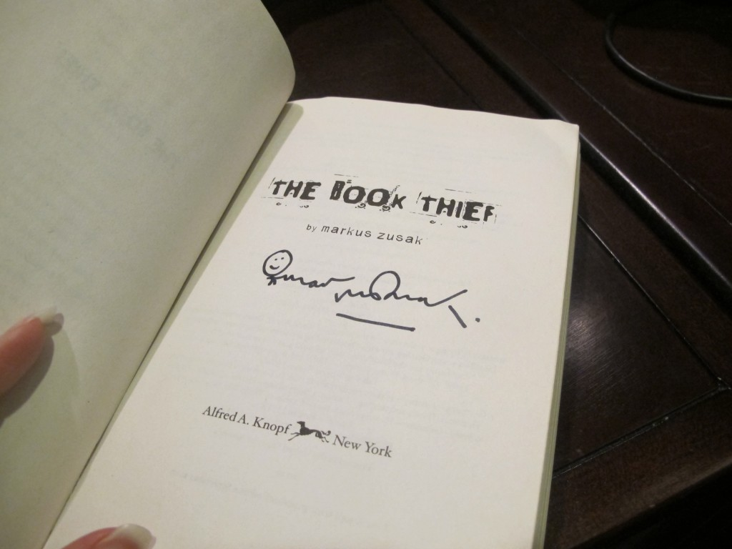 The incredibly awesome signature of Markus Zusak on my tattered first edition paperback.