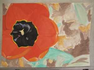 Tulip watercolor in progress 4 by Donna Cook