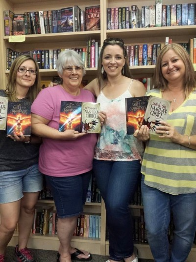 A girls trip in Boise. When they saw my books, they insisted on a pic. They're excitement was kinda cool. : (At the fabulous Rediscovered Books in Boise.)